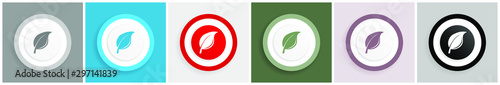 Fotografía  Nature icon set, colorful flat design vector illustrations in 6 options for web