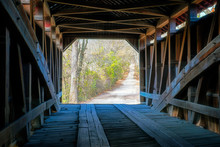 Rural Road From Inside Covered Bridge
