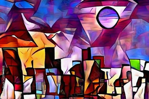 Fototapety abstrakcyjne  vivid-fantastic-painting-fairy-town