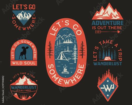 Fotografija Vintage camp logos, mountain badges set