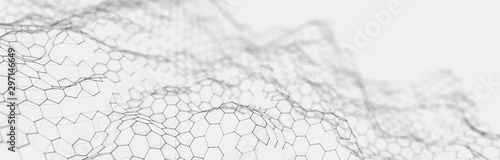 Obraz Futuristic white hexagon background. Futuristic honeycomb concept. Wave of particles. 3D rendering. - fototapety do salonu
