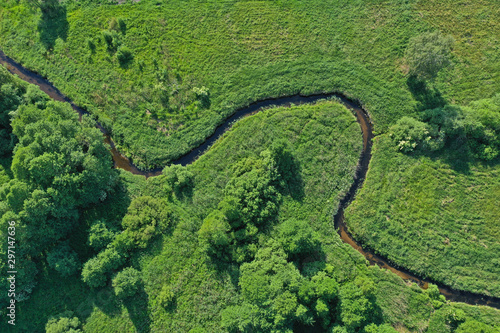 Aerial drone top down view on european green meadows and forest divided by snake like river Canvas Print