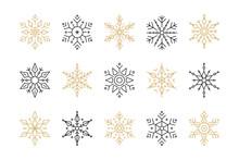Snowflake Set Of Black Isolate...