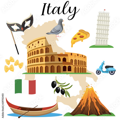 Italian famous symbols icons set. vector illustration Fototapeta