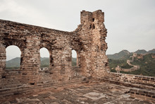 Views From Inside A Ruined Watchtower On The Jinshanling Section Of The Great Wall Of China In Hebei Province, Near Beijing.