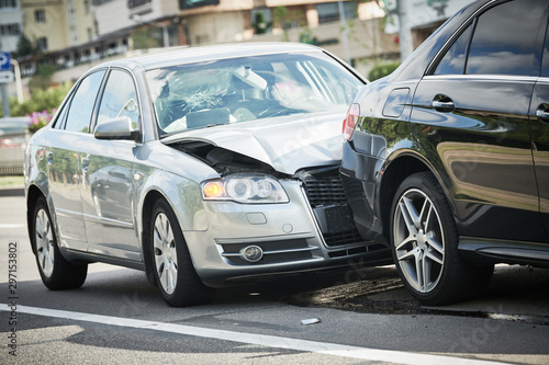 car crash accident on street. damaged automobiles Canvas Print