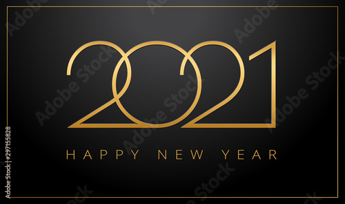 Fotomural Luxury 2021 Happy New Year elegant design - vector illustration of golden 2021 l