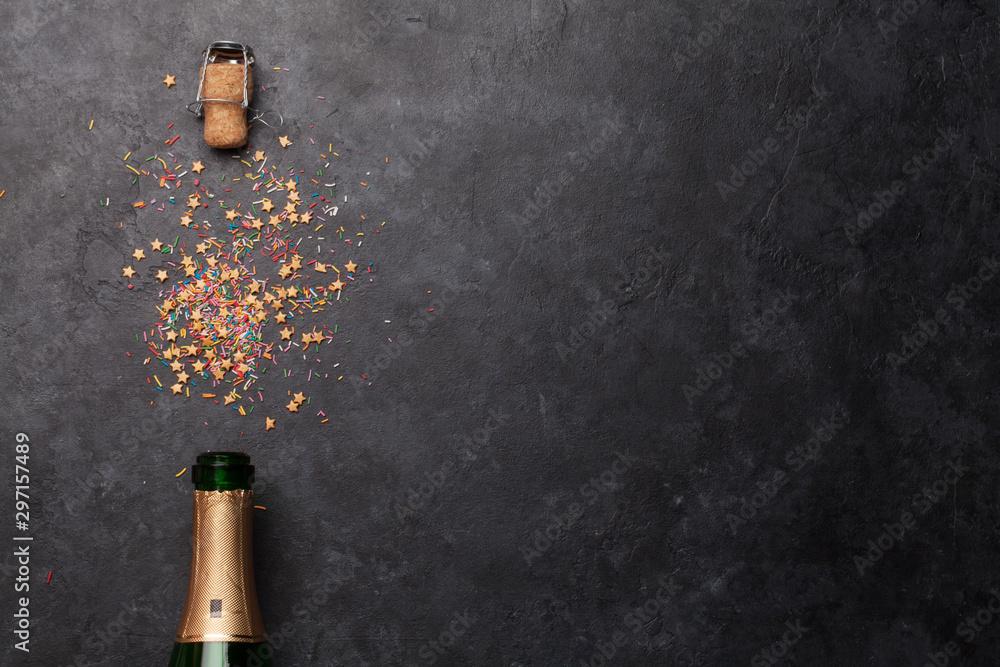 Fototapeta Champagne bottle holiday template