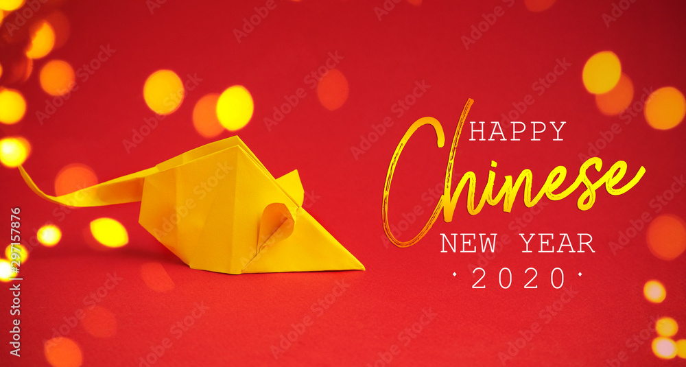 Fototapety, obrazy: Chinese New Year 2020. Year of Rat. Chinese zodiac symbol of 2020. Origami paper animal