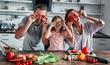Leinwandbild Motiv Family in kitchen