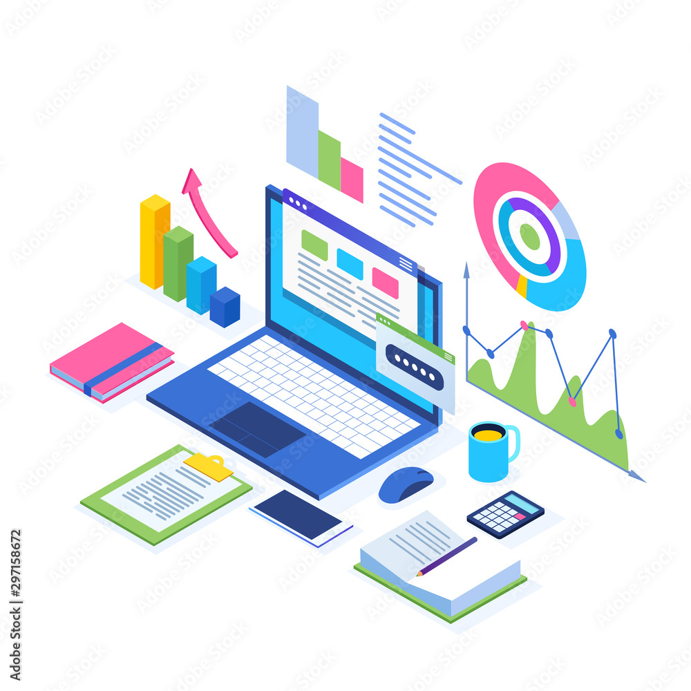 Fototapety, obrazy: Data analysis. Digital financial reporting, seo, marketing. Business management, development. 3d isometric laptop, computer, pc with graph, chart, statistic. Vector design for website