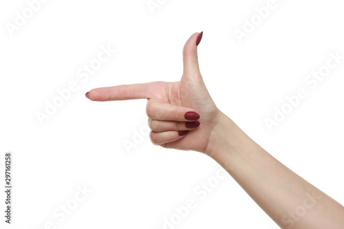 Pointing finger to left way with white isolated background. Fototapet
