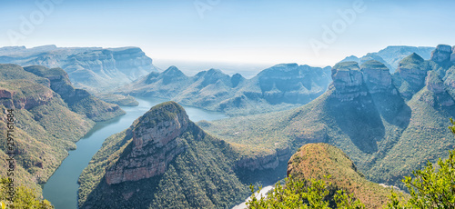 Panorama of the Blyderivierspoort Dam and the Three Rondavels Canvas Print
