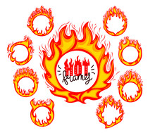 Rings Of Fire Flames Color Vector Illustrations Set