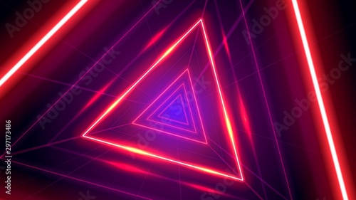 Fotomural Futuristic abstract colorful vector background with Glowing electric bright neon lines