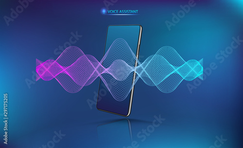 Voice assistant sound wave with smartphone mockup Canvas Print