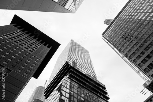 Fotomural  Black and white tone, Low angle view of modern skyscrapers, High rise building in downtown district of Frankfurt, Germany