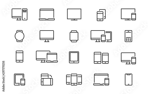 Fotografia Set of devices web icons Editable vector stroke