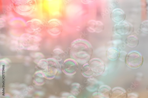 Colorful soap bubbles from the bubble blower Wallpaper Mural