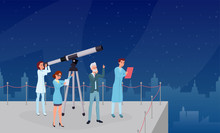 Astronomical Observation, Stargazing Flat Vector Illustrations. Professional Astronomers Team, Astronomy Experts And Assistants Cartoon Characters. Scientists Group Studying Starry Sky With Telescope