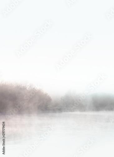 Foto auf Leinwand Wasserfalle Dawn. Autumn foggy lake. Beauty nature background