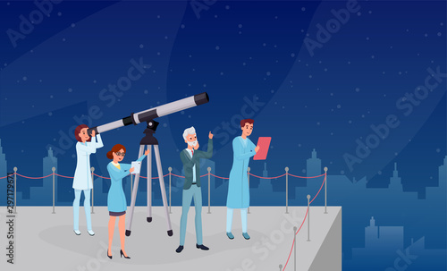 Vászonkép Astronomical observation, stargazing flat vector illustrations