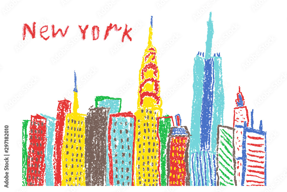 Like child's hand drawing New York City skyscrapers. Crayon, pencil or pastel chalk like kids drawn urban town building vector banner background. Funny doodle cityscape bright painting style