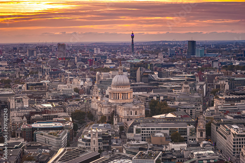 Photo  View from Sky Garden Terraces know as Walkie Talkie building at densely built London with visible dome of St