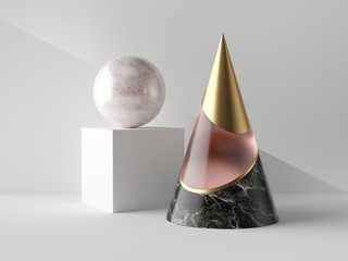 3d abstract primitive shapes on white background, black marble, rose glass and gold cone, ball cube, clean minimalist design, sophisticated decor elements, modern geometric objects