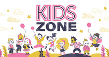 Kids Zone Background Decor Banner With Happy Playful Kids In Hand Drawn Style. Boys And Girls Jumping With Air Balloons, Standing Smile. Kindergarden Backdrop. Vector Illustration. Pink, Yellow Color.