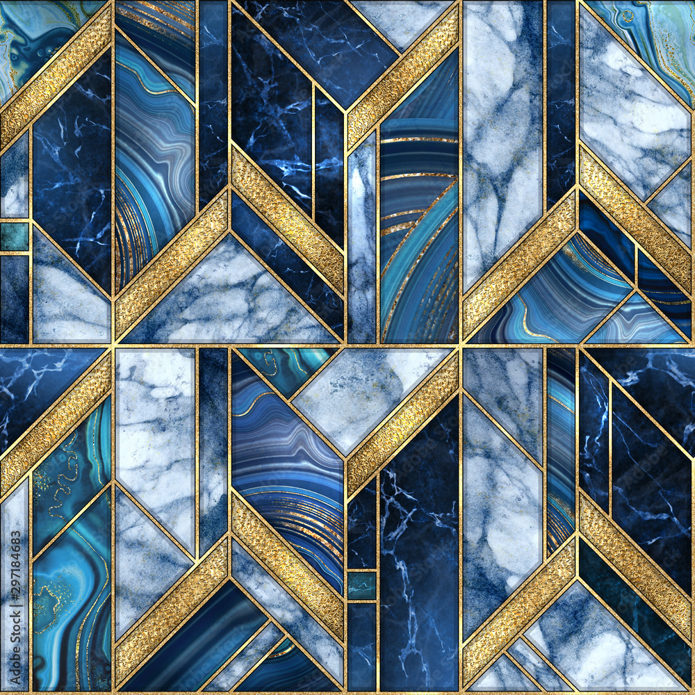seamless abstract background, modern marble blue gold mosaic, art deco wallpaper, artificial stone texture, marbled tile, geometrical fashion marbling illustration