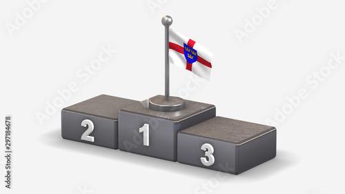 Fotografie, Tablou East Anglia 3D waving flag illustration on winner podium.