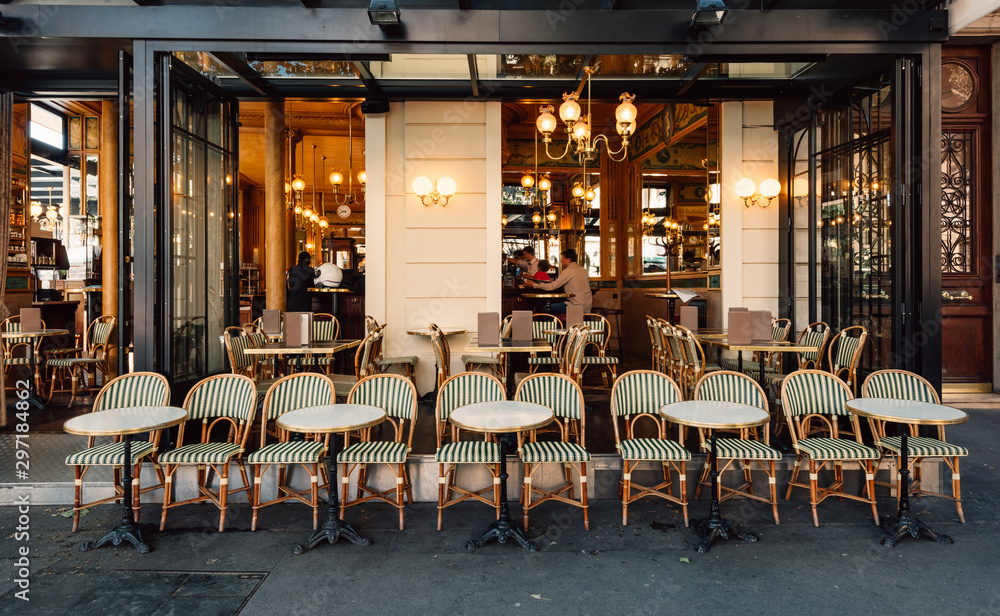 Fototapety, obrazy: Typical view of the Parisian street with tables of brasserie (cafe) in Paris, France