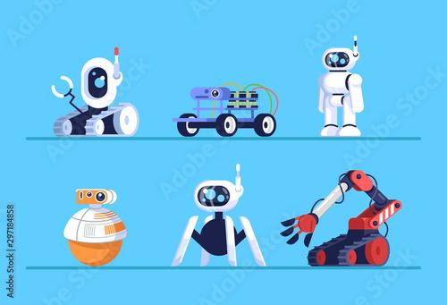 Photo Robots flat vector illustrations set