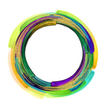 Abstract Artistic Ring Shape Clip Art, Blank Round Frame, Colorful Brush Strokes Isolated On White Background, Watercolor Design Element, Green Gold Violet Smears With Glitter, Grungy Acrylics