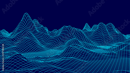 Foto Wireframe landscape background