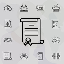 Certificate, Pen, Doc Icon. Universal Set Of Law And Justice For Website Design And Development, App Development