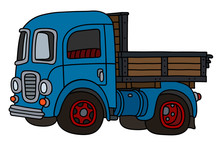 The Vectorized Hand Drawing Of An Old Blue Truck