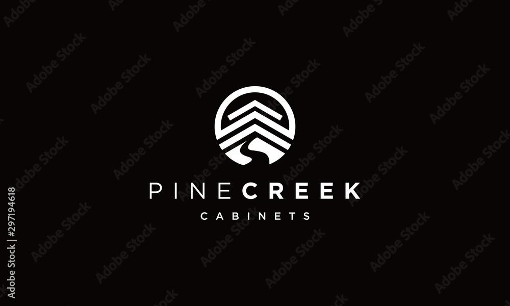 Fototapeta pine creek logo Vectors Royalty design inspiration