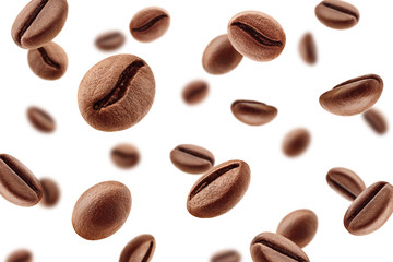 Falling coffee beans isolated on white background, selective focus