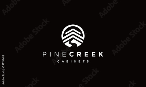 Tela pine creek logo Vectors Royalty design inspiration