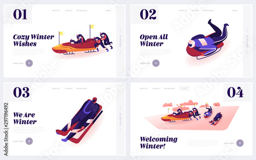 Foto Outdoors Athletics Skeleton and Bobsleigh Sports Activity Website Landing Page Set