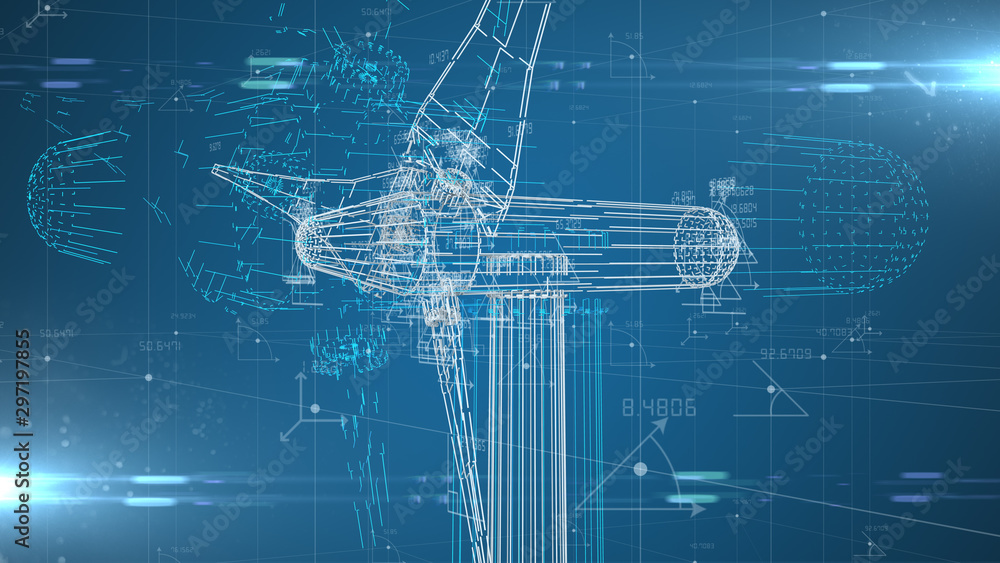 Fototapety, obrazy: Industrial engineering design of wind turbine renewable energy industry  - 3D illustration rendering