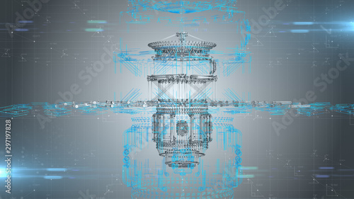 Photo Satellite and space flight aeronautical engineering design for aerospace technol