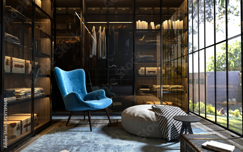 Fototapeta 3d render of dress room, wardrobe obraz