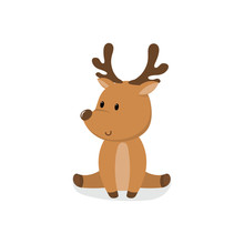 Cute Cartoon Deer Sitting On A...