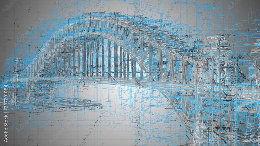 Fototapety, obrazy: Engineering design architecture disciplines associated with bridge construction - 3D Illustration Rendering