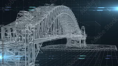 Civil engineer structural architect analysis bridge design engineering - 3D Illustration Rendering