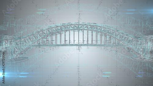 3D architect blueprint calculations of conceptual civil engineering design project - 3D Illustration Rendering - 297201046