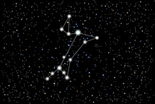 Vector Illustration Of The Constellation Great Dog On A Starry Black Sky Background. Bright Star Sirius In The Constellation Canis Major. The Astronomical Cluster Of Stars In The Southern Hemisphere
